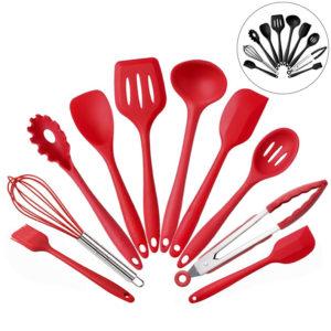 10PCS Silikon köksredskap Köksartiklar Set Servis Matlagningsverktyg med non-stick kokkärl Pan Scoops