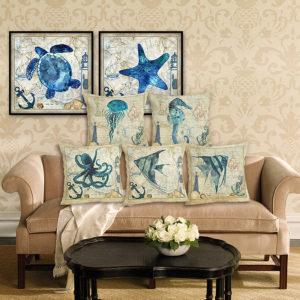 45*45cm Sea Creature Pillow Case Octopus Seahorse Conch Print Cushion Cover Linen Throw Pillow