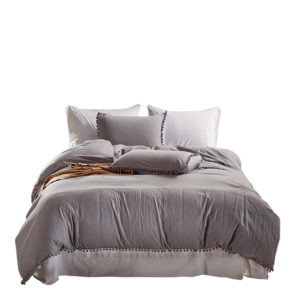 Bedding Sets with Washed Ball Decorative Microfiber Fabric Queen King Duvet Cover Pillowcase Comfortable
