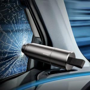 Baseus Mini-bilfönster Glasbrytare Säkerhetsbältefräs Säkerhetshammare Livräddande Escape Hammer Cutting Interiörtillbehör