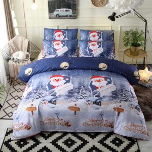 3 st sängkläder uppsättningar Happy Christmas Quilt Cover örngott för Queen Size