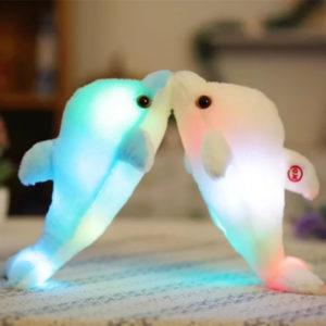 32cm Luminous Plush Dolphin Doll Glowing LED Light Animal Leksaker Mjuk Färgrik Doll Kudde