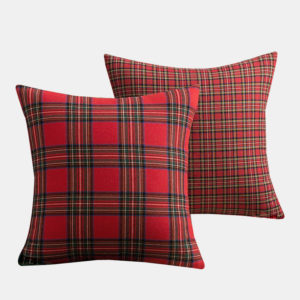 "1PC Square Pillow Case Christmas Scottish Plaid Throw Waist Cushion Cover 18"""