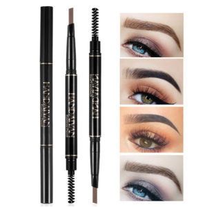 5 Colors Automatic Rotating Double-headed Waterproof Non-blooming Triangle Eyebrow Pencil