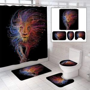 Colorful Lion Pattern Shower Curtain Bath Mat Toilet Pad Set Anti-slip Toilet Pattern Carpet for Bathroom Decoration