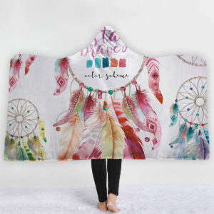 Bohemia Style filtar Dream Catcher Watercolor Painting Hooded filets Warm Coral Fleece Sherpa Fabric Feather Drawing Kasta filtar