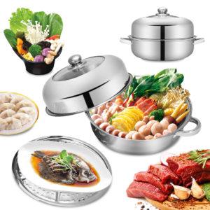 Rostfritt stål ångpanna Multipurpose Anti-skållkompatibla köksredskap Ångpottuppsättning Binaural Soup Pot