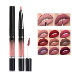 2 In 1 14 Colors Double Head Matte Lip Gloss Lip Liner Lip Makeup Nonstick Cup