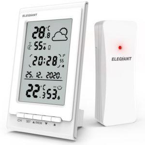 ELEGIANT EOX-9901 Elektronisk termometer Hygrometer Multifunktionell trådlös HD-glas väderstation väckarklocka