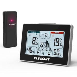 ELEGIANT EOX-9906 Multifunctional Weather Station Clock Electronic Alarm Clock Indoor Outdoor Thermometer Hygrometerumidity Perpetual Calendar Snooze Weather Forecast Clock