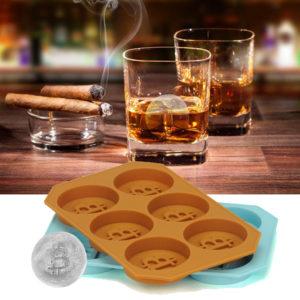 6 Grids Bitcoin Design Silikon Ice Cube Tray DIY Ice Mould Chokladkakor Kex Bakform Ice Cube Maker för kök Whisky Cocktail