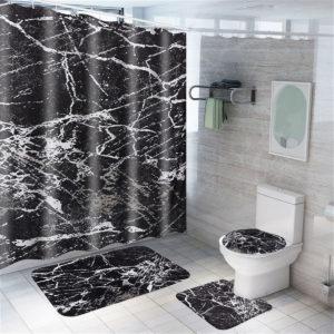 Marble Carpet Shower Curtain Four-piece Toilet Bathtub Anti-static Waterproof Anti-mildew Non-slip Mat Set