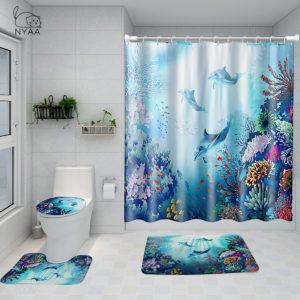 Printed Ocean World Whale Waterproof Bathroom Shower Curtain Toilet Mat Set