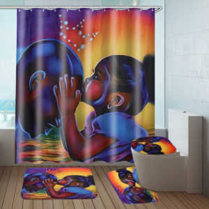African Girl Bathroom Shower Curtain Pedestal Rug Lid Toilet Cover Bath Mat Set Decor