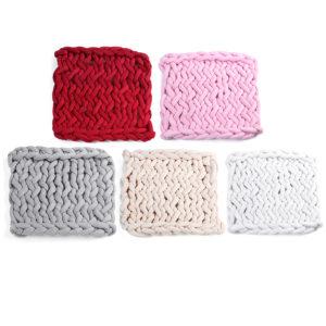 50 x 50cm Handgjord stickad filt Bomull Mjuk Tvättbar Luddfri släng Flerfärgad tjock trådtäcke