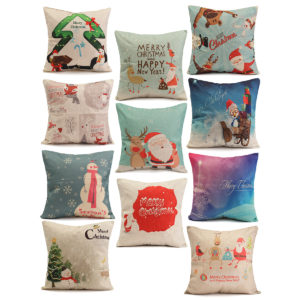 45X45cm Christmas Fashion Cotton Linen Pillow Case Santa Claus Snowmen Gift Home Decor