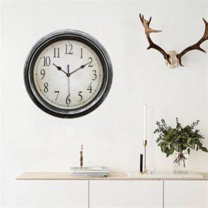 12,5 '' kvarts dekorativ rund klassisk retroklocka vintage icke -tickande hemväggklocka