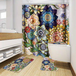 4st badrumsmatta set piedestal matta lock toalett lock dusch gardin halkfria
