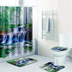 1/3/4Pcs Shower Curtain Bath Mat Toilet Lid Bath Carpet Bath Rugs Carpet