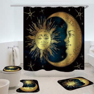 180x180cm Sun Bathroom Waterproof Polyester Fabric Shower Curtains With 12 Hooks + Toilet Mat Rug