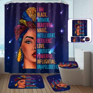 African Woman Waterproof Shower Curtain Non-Slip Bathroom Toilet Cover Mat Set