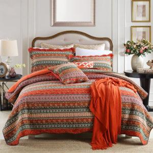 3st 230 x 250cm vanligt vävt sängtäcke 50 x 70 örngott Bomullstvättbart tryckt sängtäcke för dekoration i säng