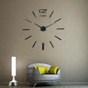 Frameless Large Modern 3D DIY Large Wall Clock Mirror Stickers Home Office Decoration