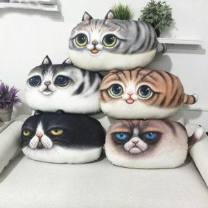 3D Creative PP Cotton Cute Cat Plush Pillow Backrest Printing Cushion Birthday Gift Trick Toys