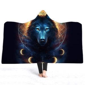 3D Wolf Hooded filts Short Plush Throw Cloak Soft Warm Lakan Täcka kartor