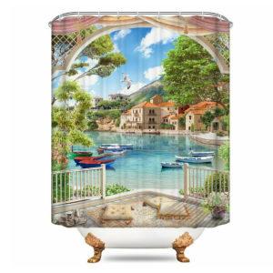 150/180cmx180cm Gulf Sea Printing Polyester Waterproof Bathroom Shower
