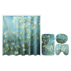 Flower Waterproof Shower Curtain Waterproof Polyester Fabric Bathroom Curtains for 12 Hooks