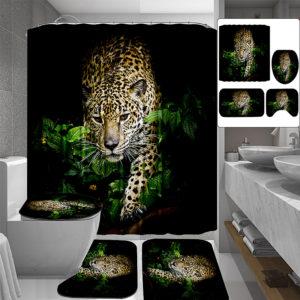 3D leopardmönster duschdraperi Halkskyddande badmatta toalettkudde set toalettmönster matta för hembadinredning