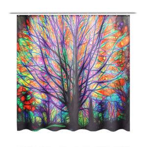 180x180cm Färgglada trädlöv Vattentät duschdraperi för badrum med/ 12 krokar
