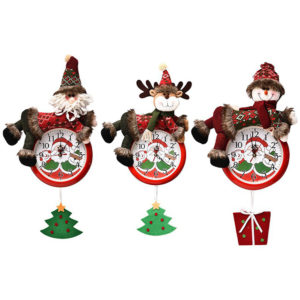 2020 Christmas Wall Hanging Clock New Fashion Battery Powered Needle Clocks Xmas for Home Party Pendant Decor