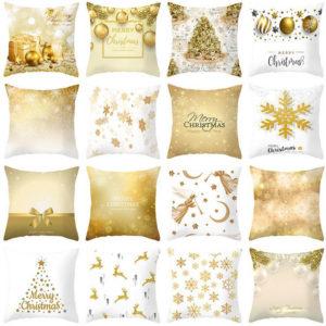 45x45cm Christmas Cushion Cover Golden Christmas Tree Snow Elf Cushion Covers Festival Decorative Pillowcase Pillow Covers