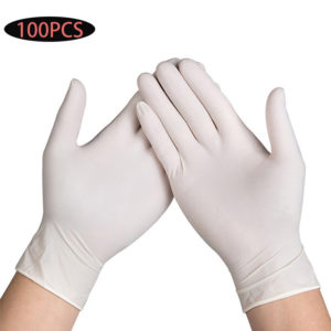 100 Pcs Disposable Latex Gloves Cleaning Work Finger Gloves Latex Protective Home Food For Safety White