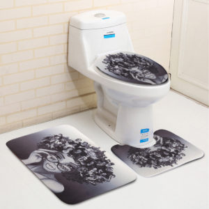 African Girl Shower Curtain Bathroom Non-Slip Rug Cover Bath Mat Set Home Decor