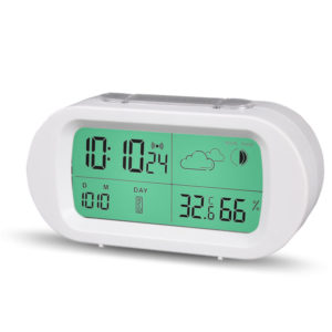 HC-102 Digital Time Thermometer Date Weather Display Snooze Mode Alarm Clock with LCD Screen