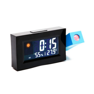 8290 Electric LED Weather Forecast Clock With Time Projection Color Screen Dual Power Supply Temperature And Humidity Display Alarm Clock