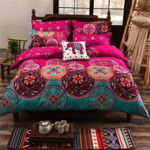 4st Oriental Mandala Polyester Single Double Queen Size Sängkläder Örngottstäcke Påslakan Set
