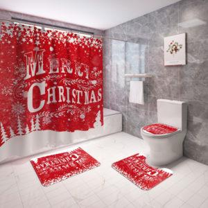 God Jul Vattentät Badrum Duschdraperi Mögelsäker Toalettskyddsmatta Halkskyddsmatta Heminredning