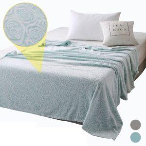 Elegant Rose Stereoscopic Plush Flannel Fleece Warm Soft Blanket Luxury Decor for Cover Sofa Bed Bedspread Winter