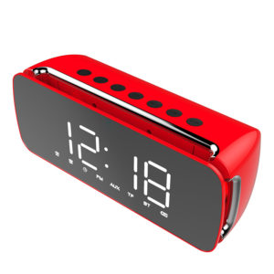 Dido LED LCD Screen Mirror Clock Hi-Fi Fuction bluetooth TF AUX Play FM Broadcast Radio Surround Sound Box Alarm Clock