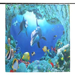 Dolphin Ocean Bathroom Shower Curtain Bath Mat Toliet Pedestal Rug Pad Cover