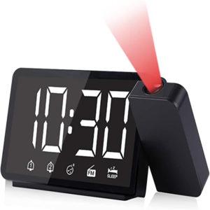 Multifunktionell 360-projektionsväckarklocka 4 Justering av ljusstyrka Dubbla larm LCD-display Digital klocka