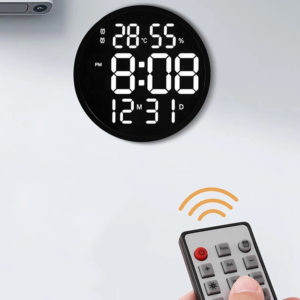 12 Inch LED Wall Clock Luminous Large Clock Mute Digital Temperature And Humidity Electronic Clock Modern Design Living Room Decoration