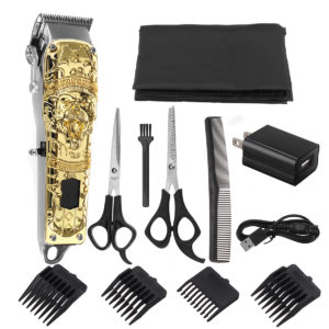 0.1-3mm Men's Electric Hair Clipper Set Beard Trimmer Cordless Rechargeable Hair Cutter Scissors W/ 4pcs Limit Combs