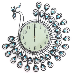 54x54cm Peacock Large Wall Clock Grow In Dark Living Room Bedroom House Decorations