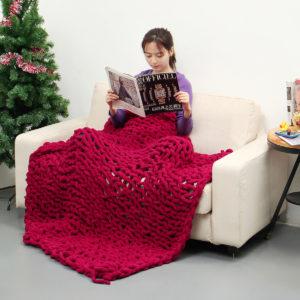 100x120cm handgjord stickad filt bomull mjuk tvättbar luddfri filt