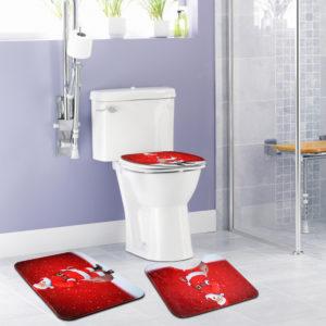 3PCS Christmas Snowman Toilet Mat Set Non-slip Waterproof Bathroom Door Mat Set